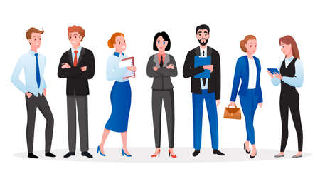 Business office worker people vector illustration set. Cartoon happy businessman and businesswoman characters standing, holding a briefcase or folder with documents and smiling isolated on white