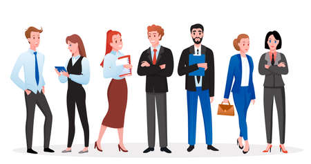 Business people vector illustration set. Cartoon happy professional corporate employees, managers or entrepreneur boss characters in office outfits standing together, business team isolated on white 向量圖像