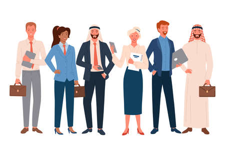 Business people, international employee team vector illustration set. Cartoon happy professional business office worker crowd and corporate multinational characters standing together isolated on white