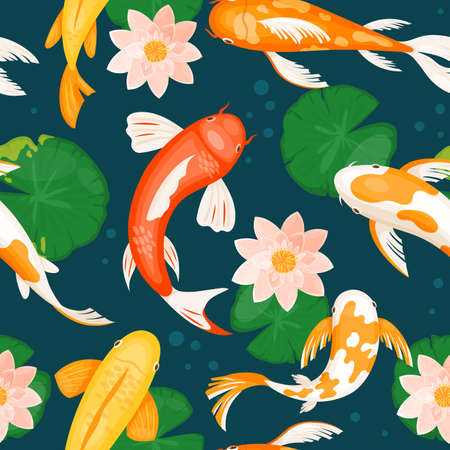 Koi carp fishes swim in blue water with pink lotus lily flowers, seamless traditional pattern vector illustration. Cartoon yellow white orange red fish swimming in pond of japanese oriental garden 向量圖像