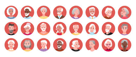 Elderly people round portrait avatar vector illustration set. Cartoon happy man woman old characters smiling collection, senior face for user profile in social media chat messenger isolated on white 向量圖像