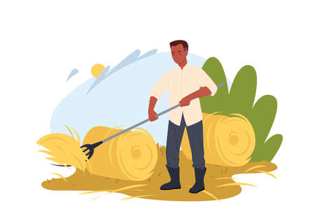 Farmer working on field vector illustration. Cartoon village worker agrarian character gathering hay with pitchfork in round haystack, countryside and farmland, agricultural work isolated on white