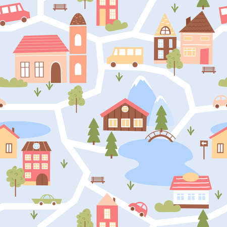 Cute city houses seamless pattern vector illustration. Cartoon funny map cityscape with small wooden or brick buildings in scandinavian style, cars on streets, lakes and park with green summer trees