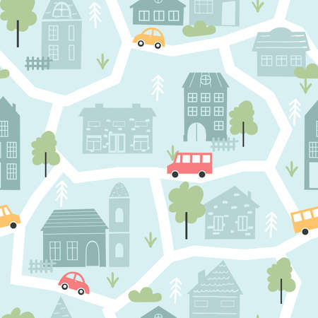 Cute city houses, childish seamless pattern vector illustration. Cartoon scandinavian map cityscape with geometric old houses, tree and car bus on street. Wallpaper for child fabric, textile, nursery