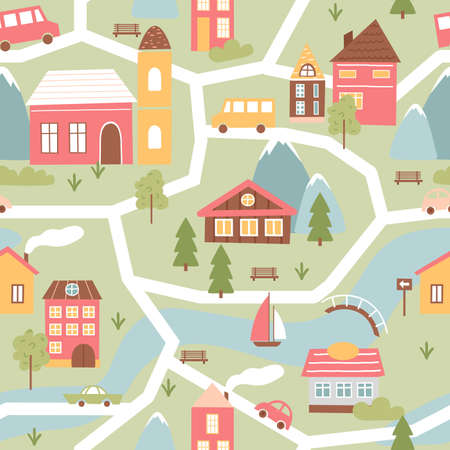 Cute town or village houses, childish seamless pattern vector illustration. Cartoon townscape with river and bridge, funny countryside colorful building facades among green trees and cars on streets 向量圖像