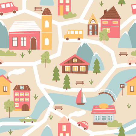 House village with river, seamless pattern texture in cute colors vector illustration. Cartoon community town map with brown red abstract houses, colorful church and cars on streets background
