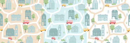 Cute vintage houses in pastel colors, childish seamless pattern vector illustration. Cartoon hand drawing cityscape map of scandinavian city or village with buildings and cars on streets background