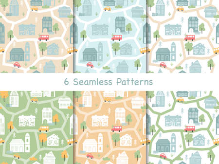 Town houses seamless pattern vector illustration. Cartoon scandinavian map townscape collection, city landscape with outline home facades, church architecture, cars in summer street scenes background 向量圖像