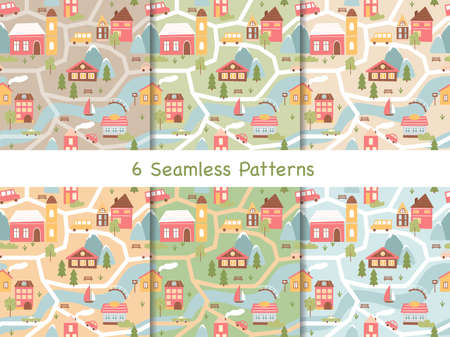 Cute houses seamless pattern vector illustration set. Cartoon old architecture in scandinavian style, colorful home apartments, town hall and church, little cars on streets collection background 向量圖像