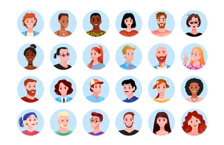 Happy people round portrait avatar for social media vector illustration set. Cartoon cute different heads of young or old man woman characters in circles collection, smiling faces isolated on white