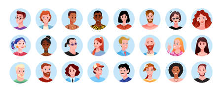 Profile round avatars, happy diversity people of different race and age vector illustration set. Cartoon portraits of diverse multinational man woman characters in circles collection isolated on white