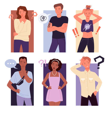 Thinking people confuse vector illustration set. Cartoon young thoughtful male female character standing with question exclamation marks, puzzled confused gesture of guy and girl background collection