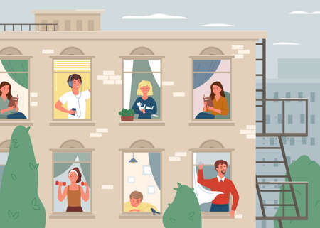 Happy people neighbours vector illustration. Cartoon brick house building facade, windows with positive man woman neighbor characters living in home apartments, neighborhood concept background 向量圖像