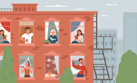 Stay home, daily routine activity concept vector illustration. Cartoon open windows with friendly active man woman neighbors characters living in room apartments, happy neighborhood background