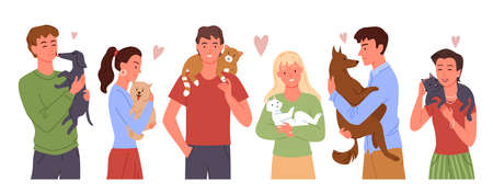 People love own pets vector illustration set. Cartoon happy young man woman playing, hugging domestic animal friends, pet owner characters loving and holding cute dog cat in hands isolated on white