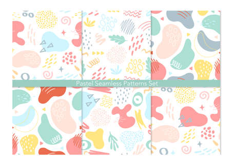 Abstract geometric seamless pattern background vector illustration set. Contemporary modern trendy various shapes lines spots drops, abstraction for beauty branding design, social media story template 向量圖像