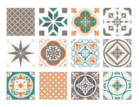 Tile ornament colorful patchwork vector illustration set. Ceramic geometric abstract ornate decoration design collection in turkish spanish moroccan italian portuguese classic style background