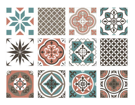 Tile colorful pattern vector illustration set. Abstract oriental blue brown geometric decorative ornament collection, ceramic typical mandala texture, traditional retro ornate decoration background