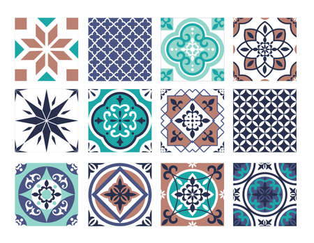 Tile mosaic pattern vector illustration set. Traditional abstract portugal and moroccan square ceramic patchwork texture wallpaper, architecture facade wall or floor tile floral design background