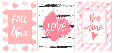 Fall in love, love, be mine romantic graffiti vector illustration. Valentines day gift vertical greeting cards creative design collection with handwriting white and pink words and brush strokes
