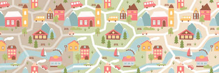 Geometric city houses seamless pattern vector illustration. Cartoon urban cute cityscape with simple funny buildings, minimalist street scenes and cars, river with sail boat and bridge background
