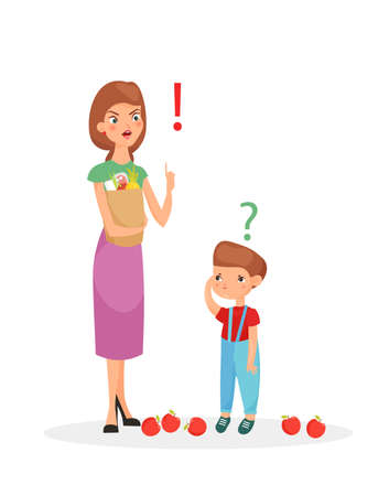 Vector illustration of mother character punishes sone. Mom scolding her upset son, flat cartoon style 向量圖像