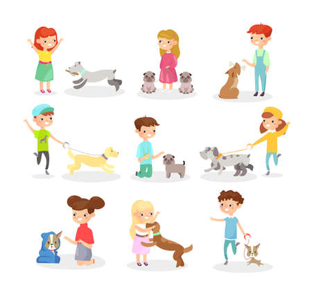 Vector illustration set of children playing with dogs. Happy boys and girls playing with dog, having fun together. Higs with pets concept in flat cartoon style isolated on white background 向量圖像