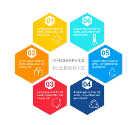 Vecto illustration infographics concept with hexagon colorful elements with icons and place for text. Diagram template for presentation in flat style on white background