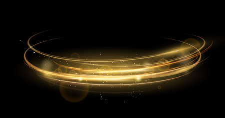 Vector illustration of golden abstract transparent light effect isolated on black background, sparcles and light lines in golden color. Abstract background for science, futuristic 向量圖像