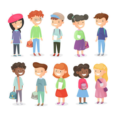 Vector illustration of pupils isolated on white background. Cute and happy girls and boys, schoolchildrens set in cartoon flat style