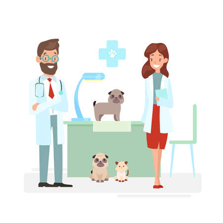 Vector illustration of veterinarians staff with cute animals. Vet and pet doctors with dogs and cat. Veterinary concept, pets care, animals and doctors in cartoon flat style 向量圖像