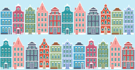 Vector illustration of netherlands style houses seamless pattern. Cute colorful vintage houses in two lines on blue background in flat cartoon style
