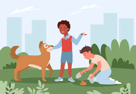 People cleanup poo after dog vector illustration. Cartoon pet standing on city park green grass, boy and young man pet owner character holding plastic bag and shovel in hand to clean poop after doggy