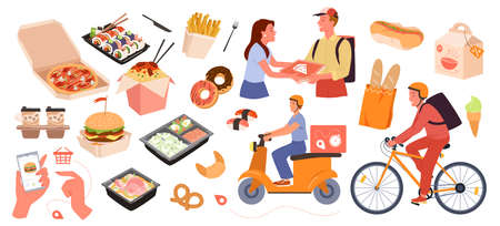 Fast food delivery service set vector illustration. Cartoon fastfood delivery collection with online order from mobile app on phone, courier delivering pizza noodles home hot dog isolated on white 向量圖像