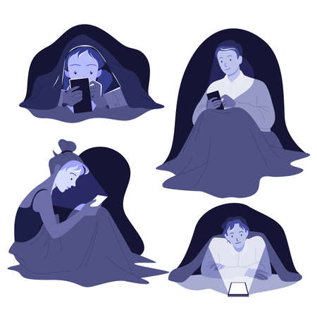 Cartoon young man and woman characters lying in bed in dark bedroom with cellphone, internet addiction isolated on white. People with mobile phone devices and insomnia at night vector illustration set