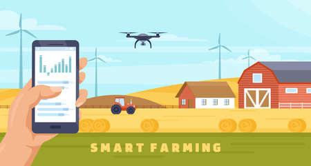 Smart farming agriculture technology vector illustration. Cartoon farmer hands holding smartphone with data to control robot drone, monitoring crop harvesting on farmland field, agritech background Illusztráció