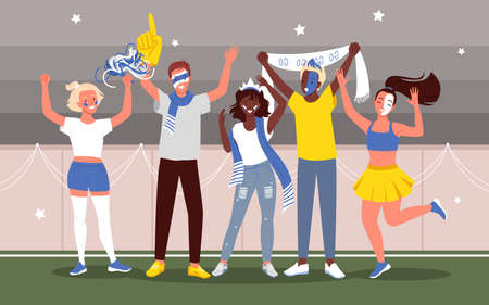 Soccer or football people fans celebrate goal in sport stadium vector illustration. Cartoon young happy woman man fan characters supporting national team with flags and painted face background