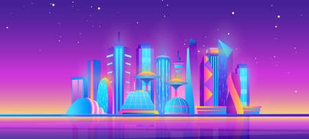 Futuristic night city skyline vector illustration. Cartoon purple future modern cityscape with town building skyscrapers and neon glow city lights, stars in sky, urban evening panorama background Illusztráció