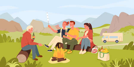 Friend people cook marshmallow on camp picnic in mountain nature landscape vector illustration. Cartoon young happy woman man characters sitting by fire, cooking together, outdoor adventure background