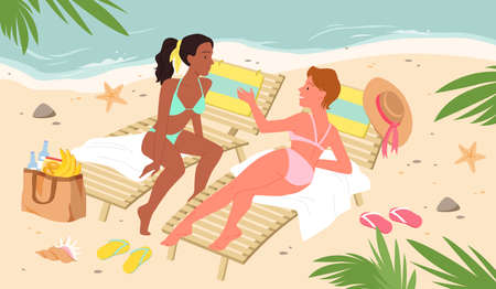 Beauty girls on tropical exotic sea beach with palm trees vector illustration. Cartoon young beautiful woman characters in bikini swimsuit relax, talking lying together on beach loungers background