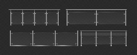 Glass balustrade with steel handrails vector illustration set. 3d fence sections, glass railing collection with plastic panels for staircase, modern balcony or terrace fencing on black background Illusztráció