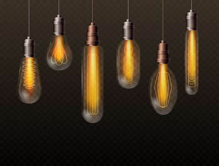 Realistic light bulbs vector illustration set. Vintage glass lamps hanging on long filaments, electricity glowing decorative objects for room decoration, trendy lightbulbs on transparent background