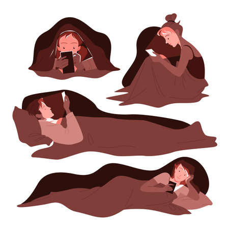 People use mobile phones late at night vector illustration set. Cartoon young man woman characters lying in bed under blanket in home bedroom, using gadgets for online networking isolated on white