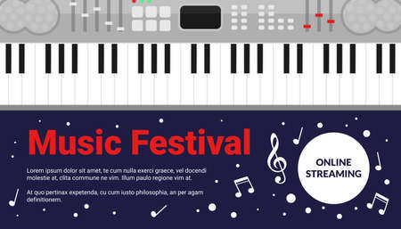 Cartoon acoustic violin musical instrument and notes on blue background, artistic live concert, listening to music creative poster design. Classical music art festival