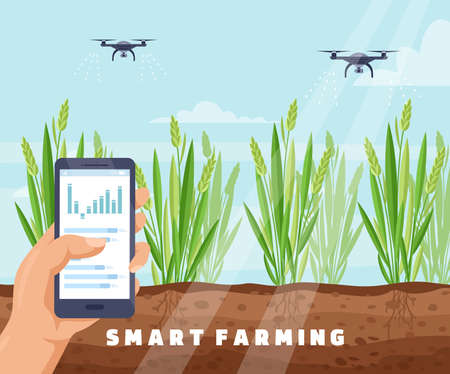 Drone smart farm irrigation system vector illustration. Cartoon farmer hand holding mobile smartphone to wireless control drone watering plants, innovation irrigative agriculture technology background