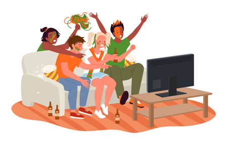 Friend people fans watching soccer match on tv vector illustration. Cartoon young woman man fan characters cheer for national football team, drink beer, sitting on sofa couch in living room interior Illusztráció