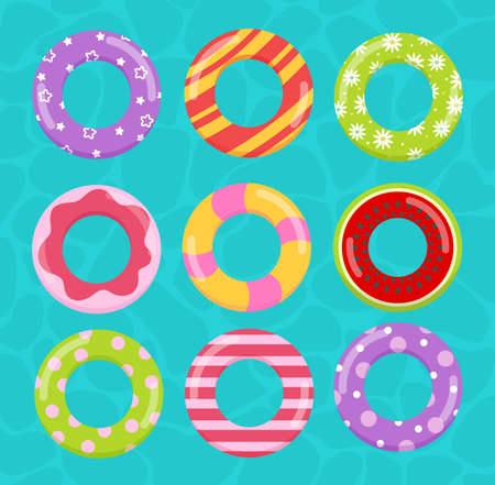 Rings toys in water vector illustration. Cartoon inflatable life saving floating lifebuoy for summer beach or swimming pool, funny colorful rubber toys floater for kids learning to swim background Illusztráció
