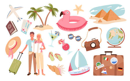 People and travel summer vacation set vector illustration. Cartoon travelling woman man characters on holiday journey with travel objects, passenger luggage, tourism collection isolated on white
