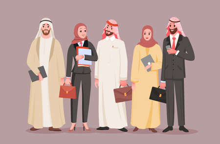 Team of saudi office workers, arab company vector illustration. Cartoon man woman employee characters standing together, managers colleagues holding tablet, briefcase or phone for work background Illusztráció