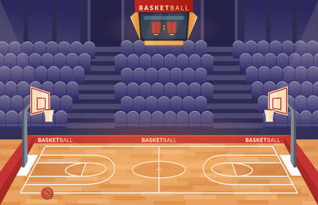 Basketball court arena stadium vector illustration. Cartoon empty hall field to play basketball team game, hoop for balls and seats for fan sector spectators, timer scoreboard indoor sport playground